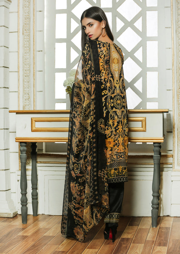 03AN - Black - UBROOJ - Unstitched Embroidered High Quality Lawn Suit - Memsaab Online