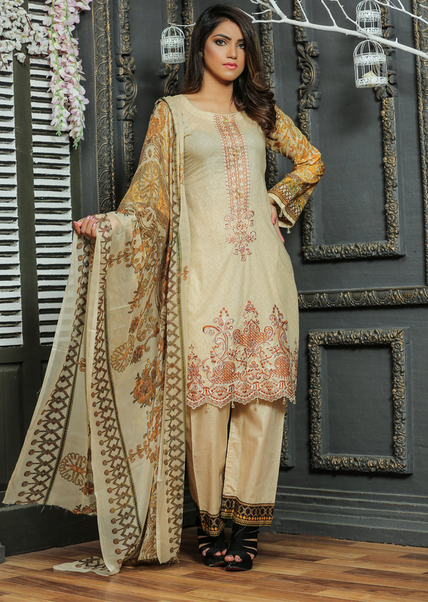 03AN Ubrooj by Memsaab - Gold - Pakistani Readymade Embroidered Lawn Suits - Memsaab Online