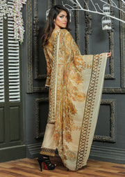 03AN Ubrooj - Gold - Unstitched Embroidered High Quality Lawn Suit - Memsaab Online