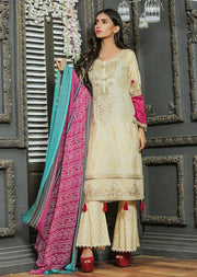 03A Ubrooj - Gold - Unstitched Embroidered High Quality Lawn Suit - Memsaab Online