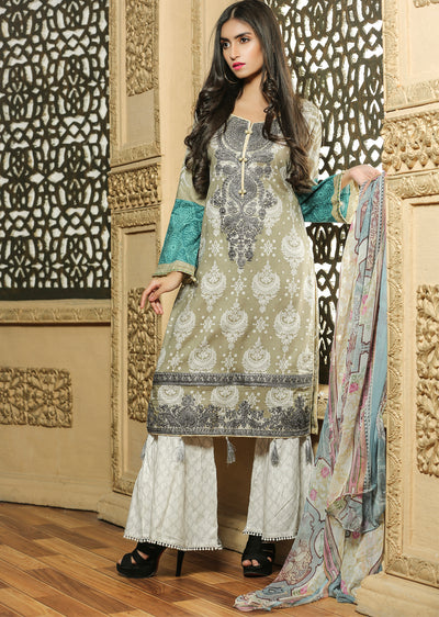 03 Ubrooj by Memsaab - Olive - Pakistani Readymade Embroidered Lawn Suits - Memsaab Online