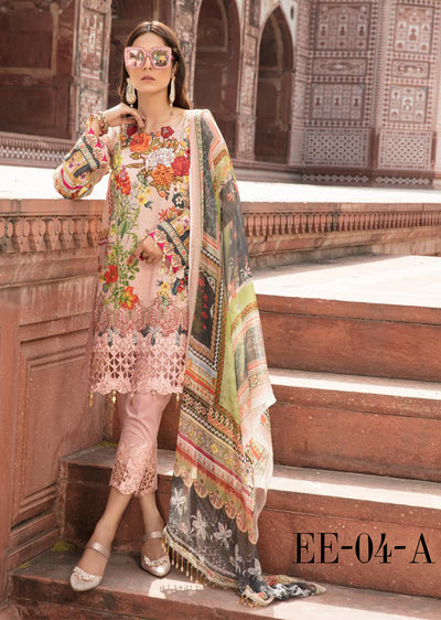 04 A - Emaan Eshaal - Luxury Festive Lawn 2019 - Unstitched - Embroidered designer lawn suits original - Memsaab Online