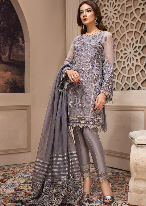 04 Afshaneh - SHAHNAMEH Embroidered Chiffon Eid Collection by Jazmin - Unstitched Pakistani elite Designer suit - Memsaab Online