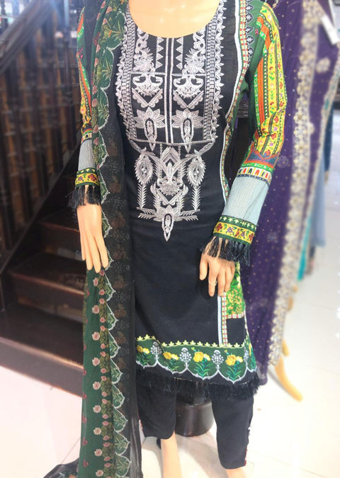 AMT11003 Black / Green Readymade Embroidered Lawn Suit - Memsaab Online