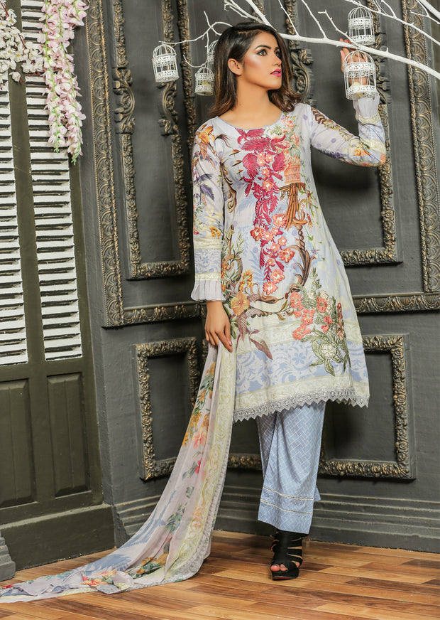 04 Ubrooj by Memsaab - Lilac - Pakistani Readymade Embroidered Lawn Suits - Memsaab Online