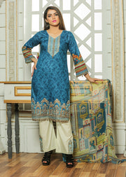 04AN Ubrooj by Memsaab - Blue - Pakistani Readymade Embroidered Lawn Suits - Memsaab Online