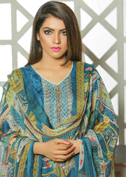 04A AN Ubrooj - Blue - Unstitched Embroidered High Quality Lawn Suit - Memsaab Online
