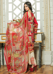 04B AN Ubrooj - Red - Unstitched Embroidered High Quality Lawn Suit - Memsaab Online