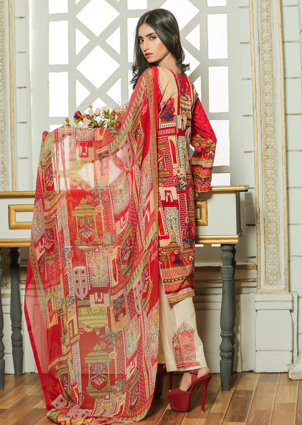 04AN Ubrooj by Memsaab - Red - Pakistani Readymade Embroidered Lawn Suits - Memsaab Online