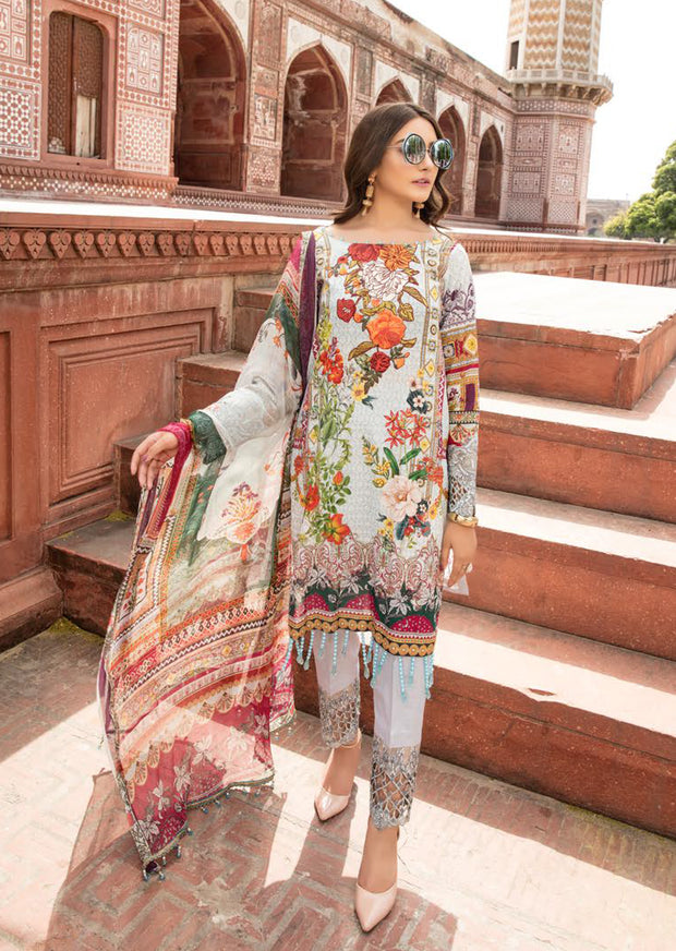04 B - Emaan Eshaal - Luxury Festive Lawn 2019 - Unstitched - Embroidered designer lawn suits original - Memsaab Online