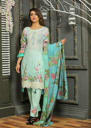 05 Ubrooj - Mint - Unstitched Embroidered High Quality Lawn Suit - Memsaab Online