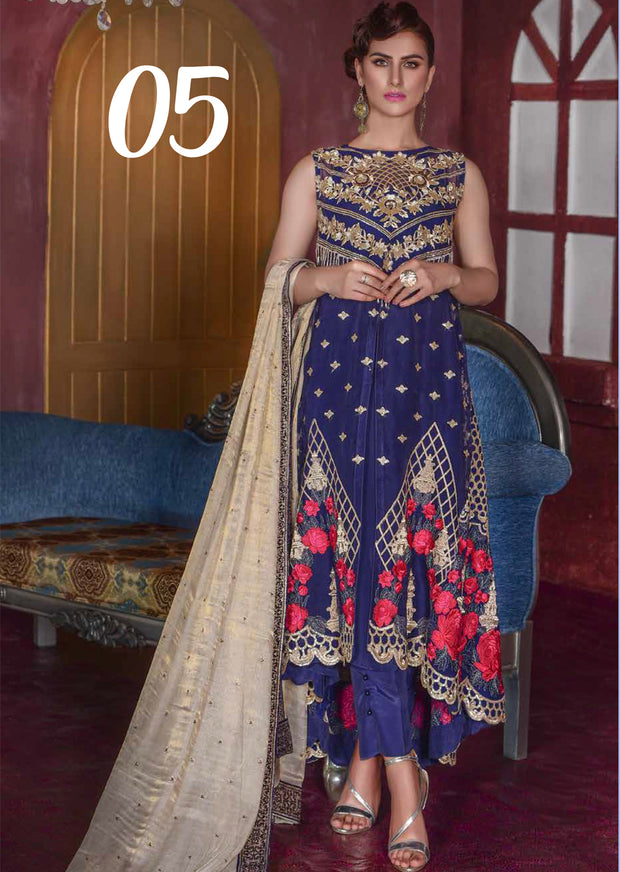 05 The Blues Romance - Blue - Sofia Khas - Readymade Pakistani designer suit - UK Delivery - Memsaab Online