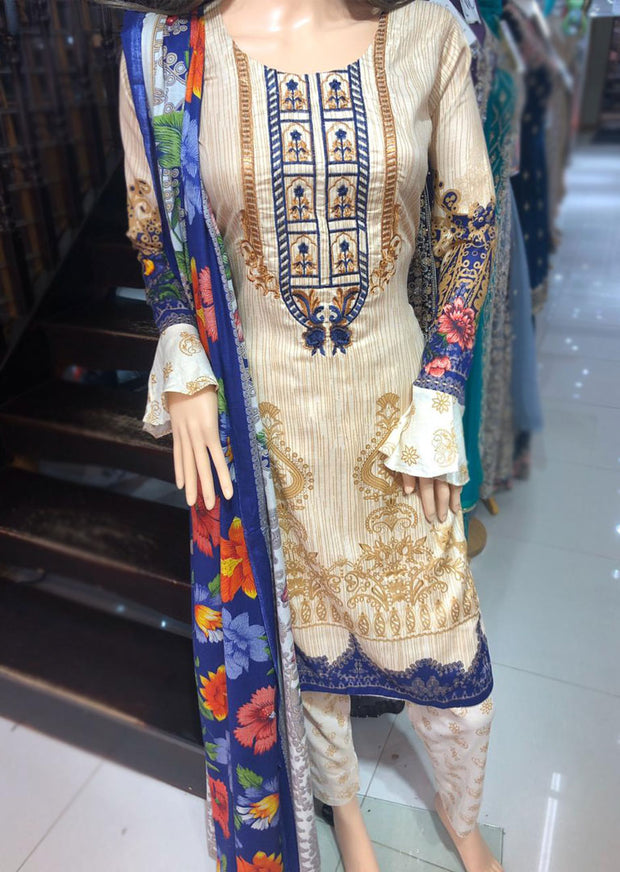 AMT1915 Gold Readymade Embroidered Lawn Suit - Memsaab Online