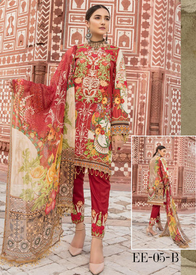 05 B - Emaan Eshaal - Luxury Festive Lawn 2019 - Unstitched - Embroidered designer lawn suits original - Memsaab Online
