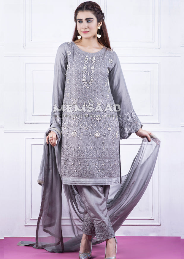 Readymade - Grey - Embroidered Chiffon Suit - Memsaab - Memsaab Online