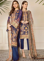 Currant - Blue Unstitched Baroque Embroidered Chiffon Suit - Memsaab Online