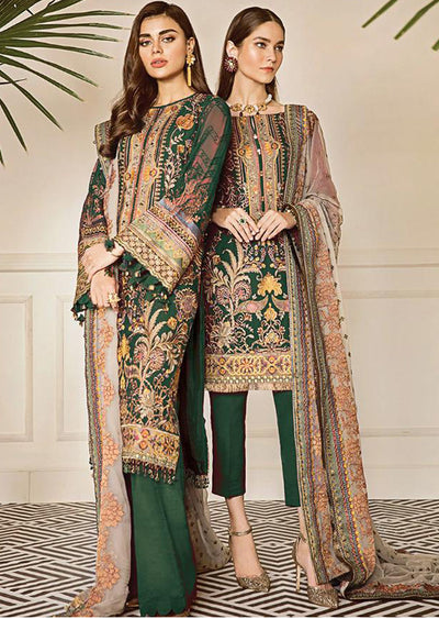 Currant - Green Unstitched Baroque Embroidered Chiffon Suit - Memsaab Online