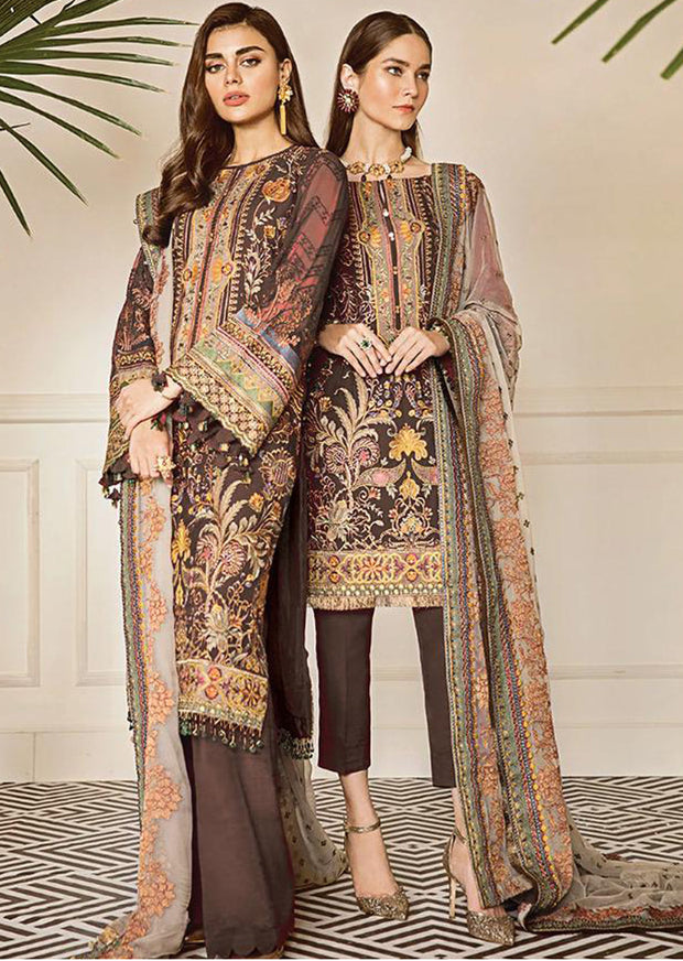 Currant - Brown Unstitched Baroque Embroidered Chiffon Suit - Memsaab Online