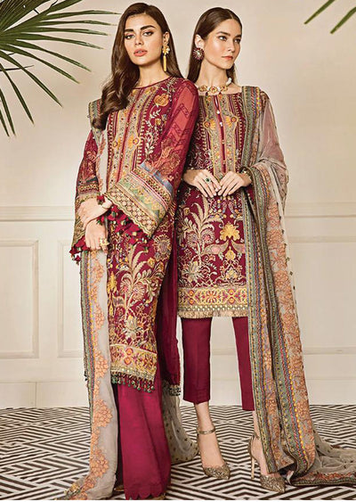 Currant - Maroon Unstitched Baroque Embroidered Chiffon Suit - Memsaab Online