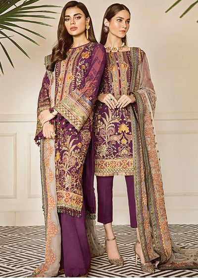 Currant - Purple Unstitched Baroque Embroidered Chiffon Suit - Memsaab Online
