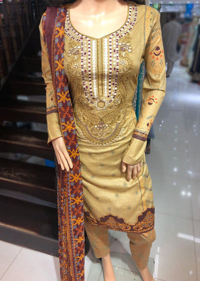 AMT1913 Gold Readymade Embroidered Lawn Suit - Memsaab Online