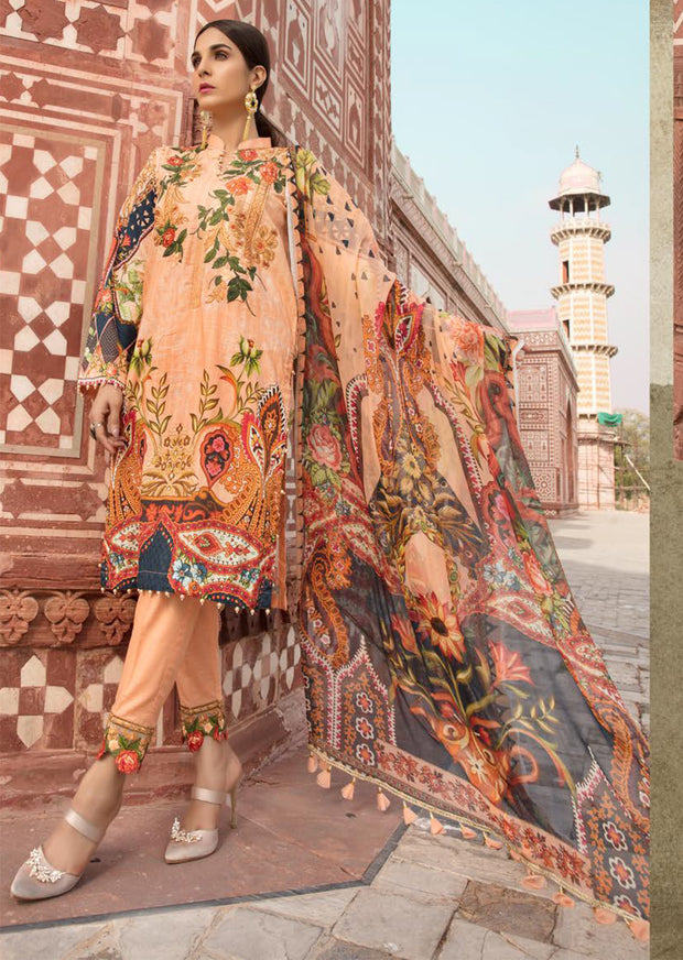 06 B - Emaan Eshaal - Luxury Festive Lawn 2019 - Unstitched - Embroidered designer lawn suits original - Memsaab Online