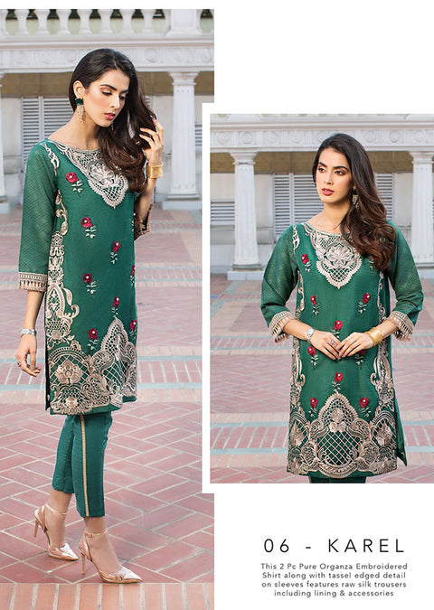 06 KAREL - XENIA Formals - Carnation - Ladies Readymade 2 piece Pakistani Designer Suit - Online - UK - Memsaab Online