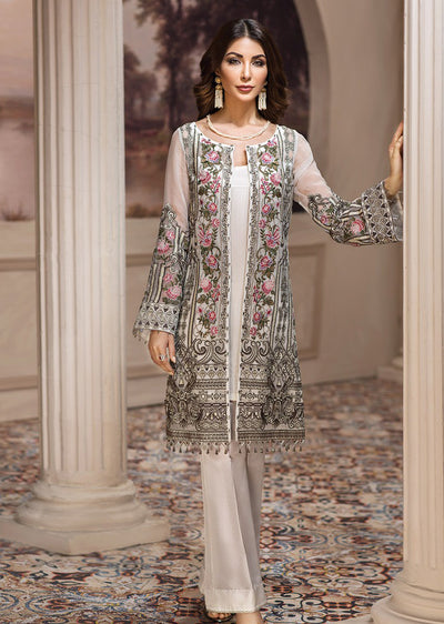 06 Nafeesa - SHAHNAMEH Embroidered Chiffon Eid Collection by Jazmin - Unstitched Pakistani elite Designer suit - Memsaab Online