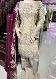 0740 Readymade Gold Chiffon Embroidered Suit - Memsaab Online