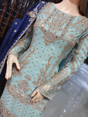 0740 Readymade Aqua Chiffon Embroidered Suit - Memsaab Online