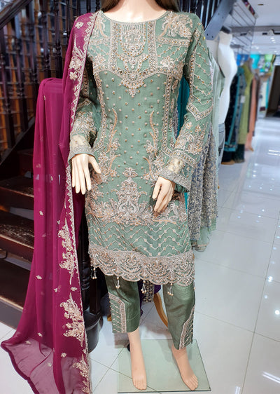 0740 Readymade Green Chiffon Embroidered Suit - Memsaab Online