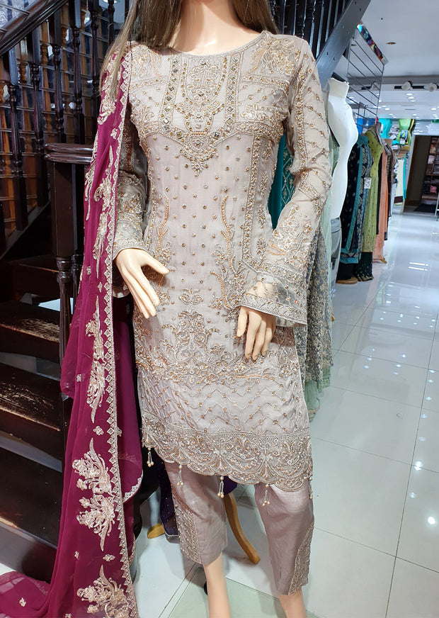 0740 Readymade Grey Chiffon Embroidered Suit - Memsaab Online