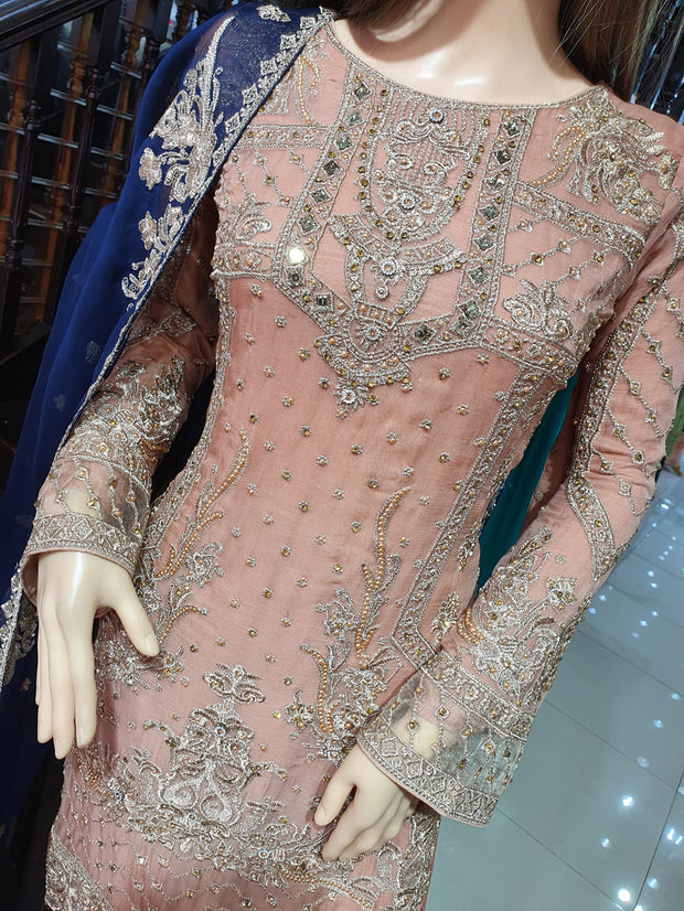 0740 Readymade Peach Chiffon Embroidered Suit - Memsaab Online