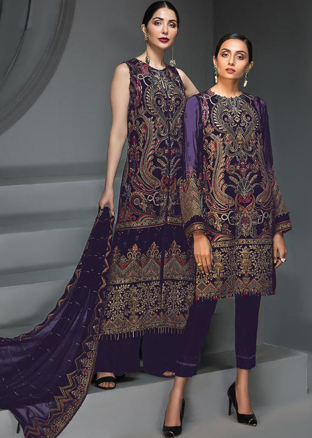 Reine De Nuit - Dark Purple Unstitched Baroque Embroidered Chiffon Suit - Memsaab Online