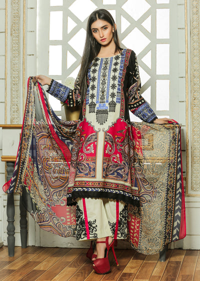 07 Ubrooj - Cream/Red - Unstitched Embroidered High Quality Lawn Suit - Memsaab Online