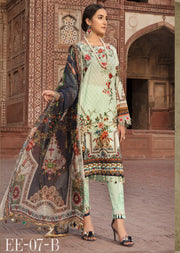 07 B - Emaan Eshaal - Luxury Festive Lawn 2019 - Unstitched - Embroidered designer lawn suits original - Memsaab Online