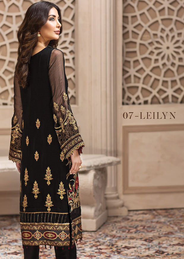 07 Leilyn - SHAHNAMEH Embroidered Chiffon Eid Collection by Jazmin - Unstitched Pakistani elite Designer suit - Memsaab Online