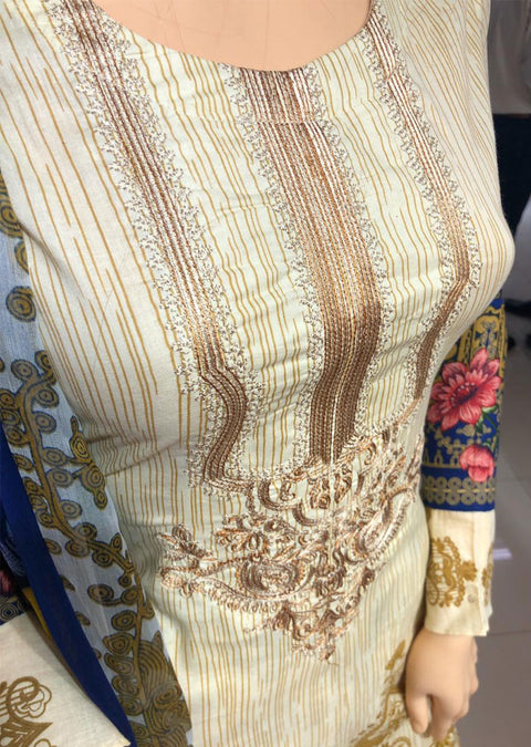 AMT1904 Light Gold Emb Readymade Embroidered Lawn Suit - Memsaab Online