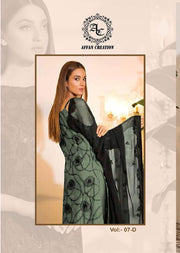 07 - Mint Unstitched Ramsha Inspired Affan Creation Embroidered Net Suit - Memsaab Online
