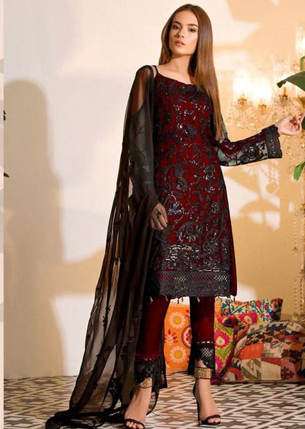 07 - Maroon Unstitched Ramsha Inspired Affan Creation Embroidered Net Suit - Memsaab Online