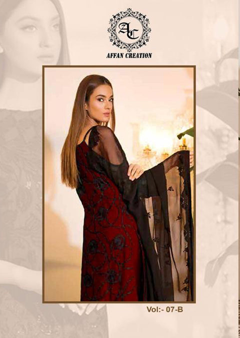 Maroon Unstitched Ramsha Inspired Affan Creation Embroidered Net Suit - Memsaab Online
