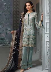 MYRELLA - Turquoise Unstitched Baroque Embroidered Chiffon Suit - Memsaab Online