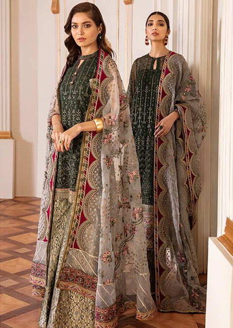 Viridian - Unstitched - Chantelle Embroidered Chiffon by Baroque '20 - Memsaab Online
