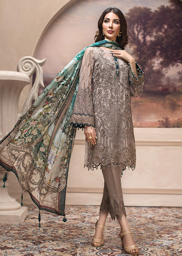 UNSTITCHED MASTER REPLICA 08 Shahwar - SHAHNAMEH Embroidered Chiffon Eid Collection by Jazmin - Unstitched Pakistani elite Designer suit - Memsaab Online