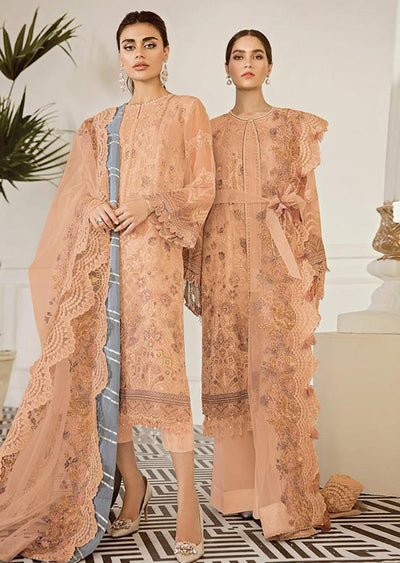 Pewter - Peach Unstitched Baroque Embroidered Chiffon Suit - Memsaab Online