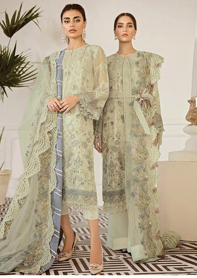Pewter - Pistachio Unstitched Baroque Embroidered Chiffon Suit - Memsaab Online