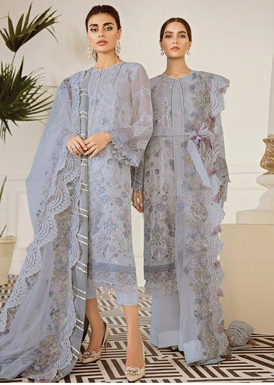 Pewter - Grey Unstitched Baroque Embroidered Chiffon Suit - Memsaab Online