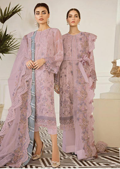 Pewter - Pink Unstitched Baroque Embroidered Chiffon Suit - Memsaab Online
