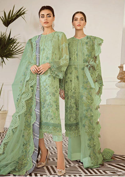 Pewter - Green Unstitched Baroque Embroidered Chiffon Suit - Memsaab Online