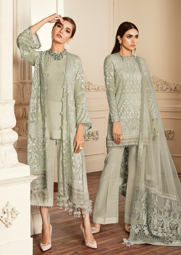 09 - C - Unstitched - Dove Chantelle Embroidered Chiffon ORIGINAL - Memsaab Online